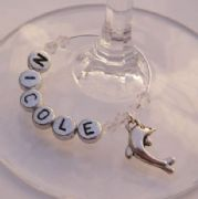 Dolphin Personalised Wine Glass Charm